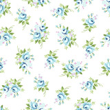Seamless floral pattern with blue rose - 116892923