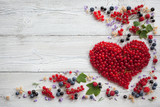 Fototapety Heart of red currant and other berries