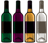 Wine bottles in retro engraving style. Vector illustration.