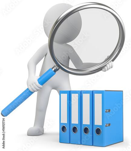 3d Männchen überprüft im Büro alle Dokumente in der Ablage