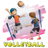 Cartoon vector volleyball Olympic sport with separated layers for game and animation, game design asset