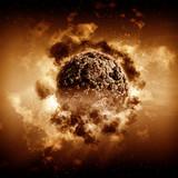 3D stormy planet scene