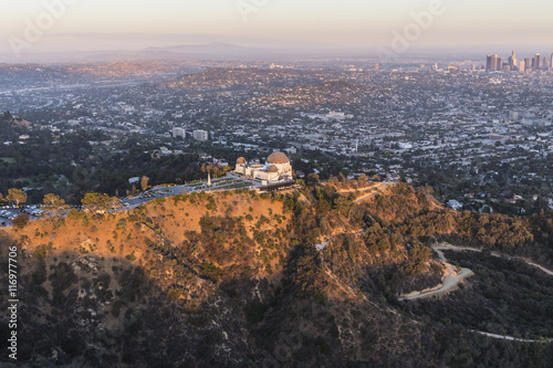 Late Afternoon Aerial of Griffith Park and Los Angeles Poster
