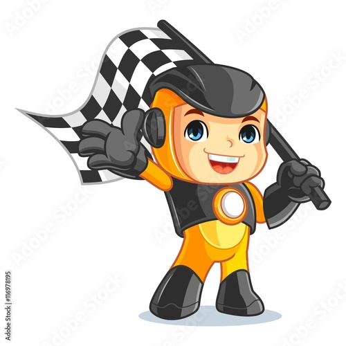 Cute Robot Mascot Cartoon Vector Illustration Race Boy - 116978195