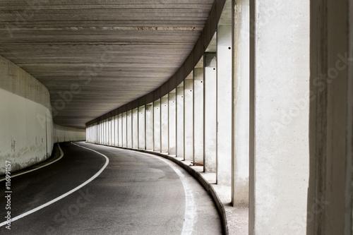 fototapeta na ścianę Open sided road tunnel