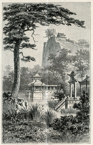 Plakat Chinese garden (from Meyers Lexikon, 1895, 7 vol.)