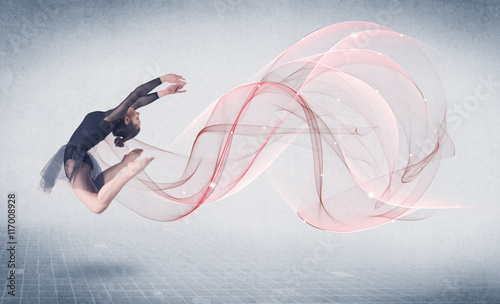Dancing ballet performance artist with abstract swirl - 117008928