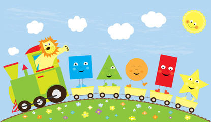 educational vector illustration with train and dancing basic shapes