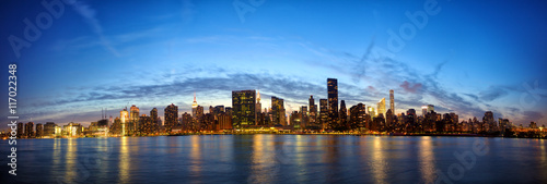 Manhattan Midtown skyline panorama at dusk, New York City