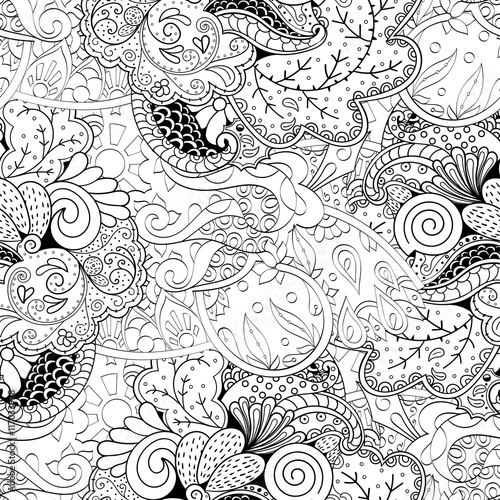 Tracery seamless calming pattern. Mehendi design. Ethnic monochrome binary doodle texture. Black and white. Indifferent discreet. Curved doodling mehndi motif. Vector. © geliostrk