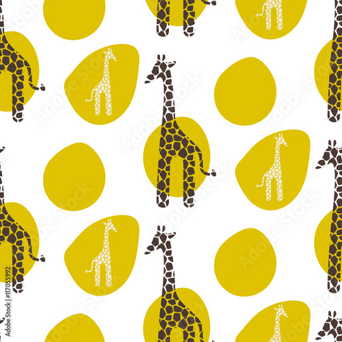 Giraffe vector seamless pattern. Giraffe brown and white texture stains. Safari wild animal background with green spots for baby kid apparel. - 117055992