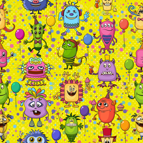 Fototapeta Seamless Background for Your Holiday Party Design with Different Cartoon Monsters, Colorful Tile Pattern with Cute Funny Characters, Feasting with Balloons, Sparklers and Cocktails. Vector