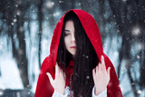 Red Riding Hood lost in the mystical snow-covered forest,fantastic shooting,fashionable toning, creative computer colors