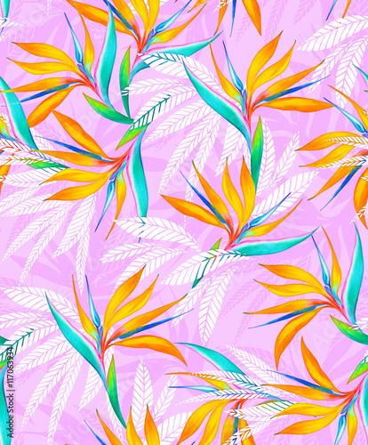 Stoffe zum Nähen Aquarell Vogel des Paradieses tropischen Musterdesign.