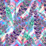 Tropical foliage seamless pattern. Colorful leaves of exotic Calathea Insignis plant on geometric pattern, blended effect, cool purple and green tones. Handmade watercolor. Textile design.