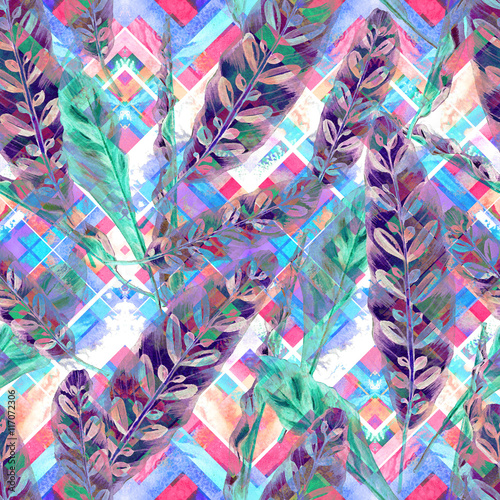 Tropical foliage seamless pattern. Colorful leaves of exotic Calathea Insignis plant on geometric pattern, blended effect, cool purple and green tones. Handmade watercolor. Textile design. - 117072306