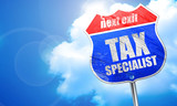 tax specialist, 3D rendering, blue street sign