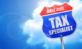 tax specialist, 3D rendering, blue street sign