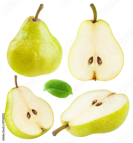 Isolated yellow green pears