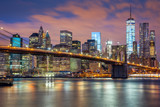 Fototapeta Nowy York - New York City - great illumination and colorful clouds © Taiga