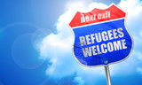 refugees welcome, 3D rendering, blue street sign