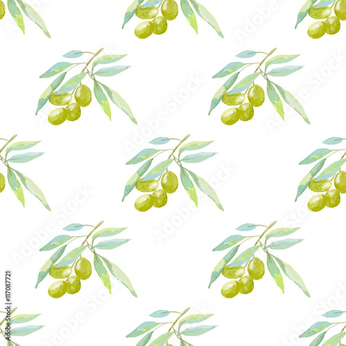 Seamless floral pattern with berries and olives. - 117087721
