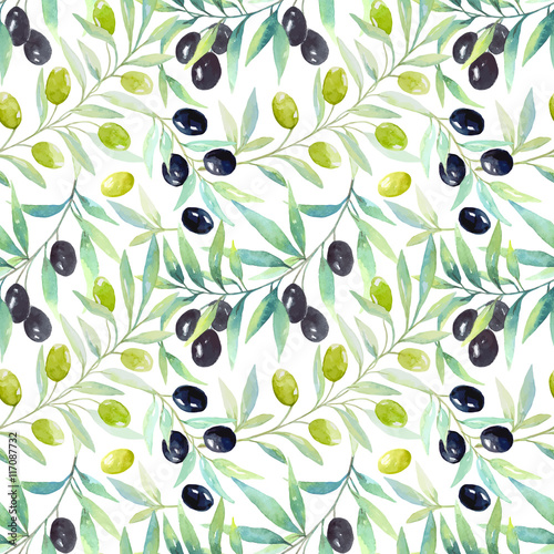 Panel Szklany Seamless floral pattern with berries and olives.