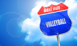 volleyball sign background, 3D rendering, blue street sign