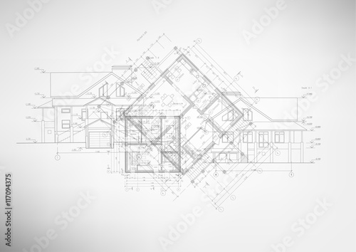 Fototapeta Abstract architectural drawings.