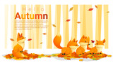 Fototapety Hello autumn background with foxes , vector , illustration