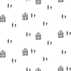 Line houses scandinavian ornament. Vector hand drawn hut seamless pattern.