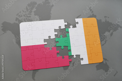 puzzle with the national flag of poland and ireland on a world map background Poster