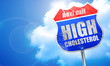 high cholesterol, 3D rendering, blue street sign