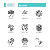 Thin line icons. Flowers