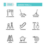 Thin line icons. Garden tools 1