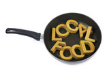 Words in a cooking pan isolated