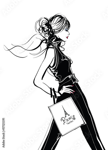 Deurstickers Art Studio Pretty Woman shopping in Paris
