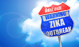 Zika virus concept background, 3D rendering, blue street sign