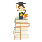 Happy Girl In Graduation Suit Standing On The Highest Book Staircase Represent Successful Education Concept Vector Illustration.