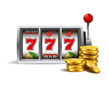Slot machine with lucky seven and golden coins isolated on a white background. - 117134536