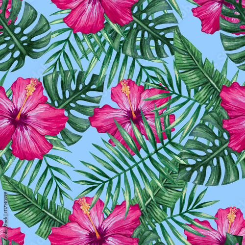 Obraz na Szkle Watercolor hibiscus flower and palm leaves seamless pattern. Vector illustration.