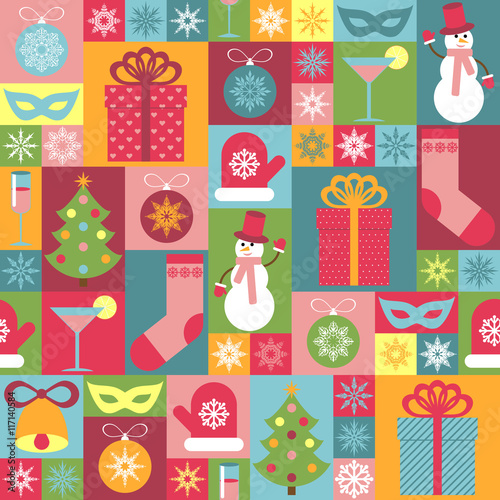 Materiał do szycia Seamless Christmas pattern. It can be used for decorating of wrapping paper, invitations, cards.