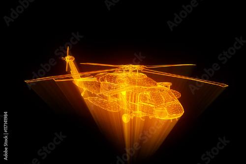 obraz lub plakat Wireframe Hologram Helicopter in Motion. Nice 3D Rendering