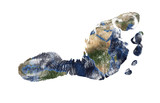 Real imprint of child foot combined with a map of our blue planet Earth - isolated on white background. Elements of this image furnished by NASA - 117150990