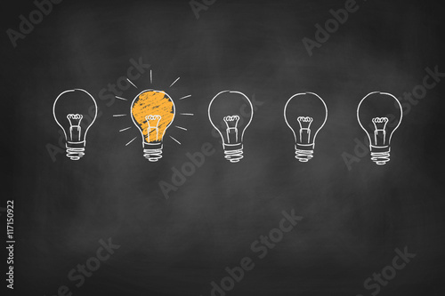 light bulb chalk board vector background
