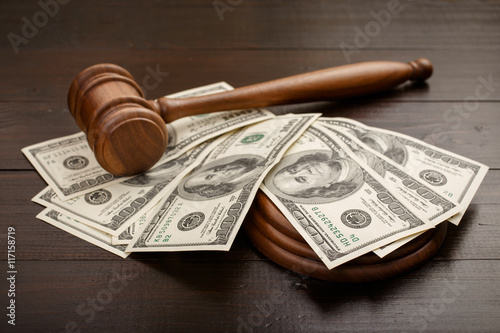 Poster Judge gavel with dollars