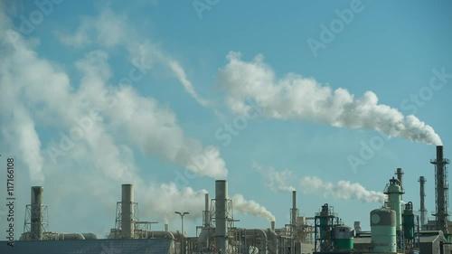 Fotobehang Koraalriffen industrial power station with smoke towers