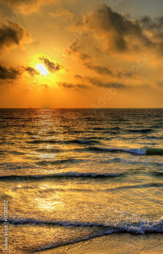 Sunset over the Mediterranean Sea off the coast of Tel Aviv