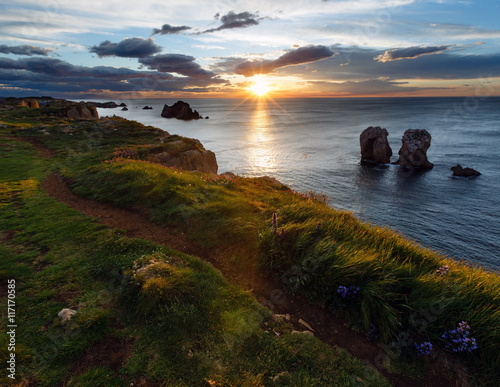 Sunset Arnia Beach coastline landscape. Poster