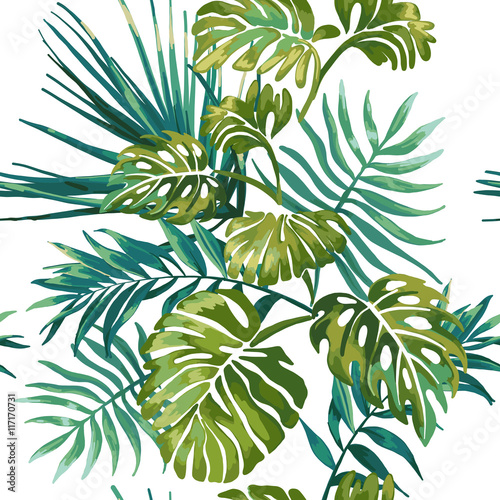 Cotton fabric Jungle leaves on a white background. Tropical green Monstera.